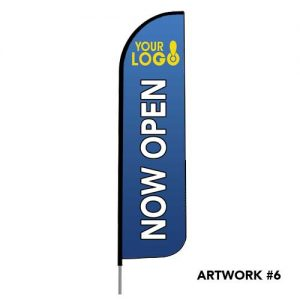 Now-Open-flag-logo-print-blue