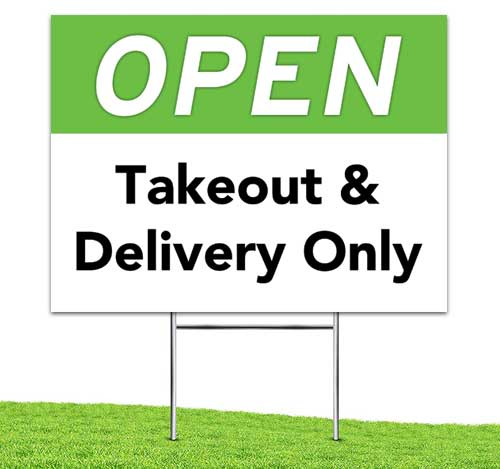 Open_takeout_delivery_Yard_stake_corrugated_sign_Green